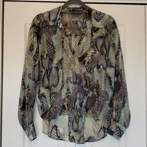 Kaya di koko snake print pop over blouse small